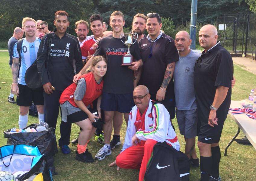Homeless and Recovery Football Tournament winning team The Woodlands Hospital, with referees Carl Jones from Britannia House, Tony Pace from Abbeycare Drug and Alcohol Treatment Centre and Gary Spiers from Genesis Housing. ANL-160920-152128001