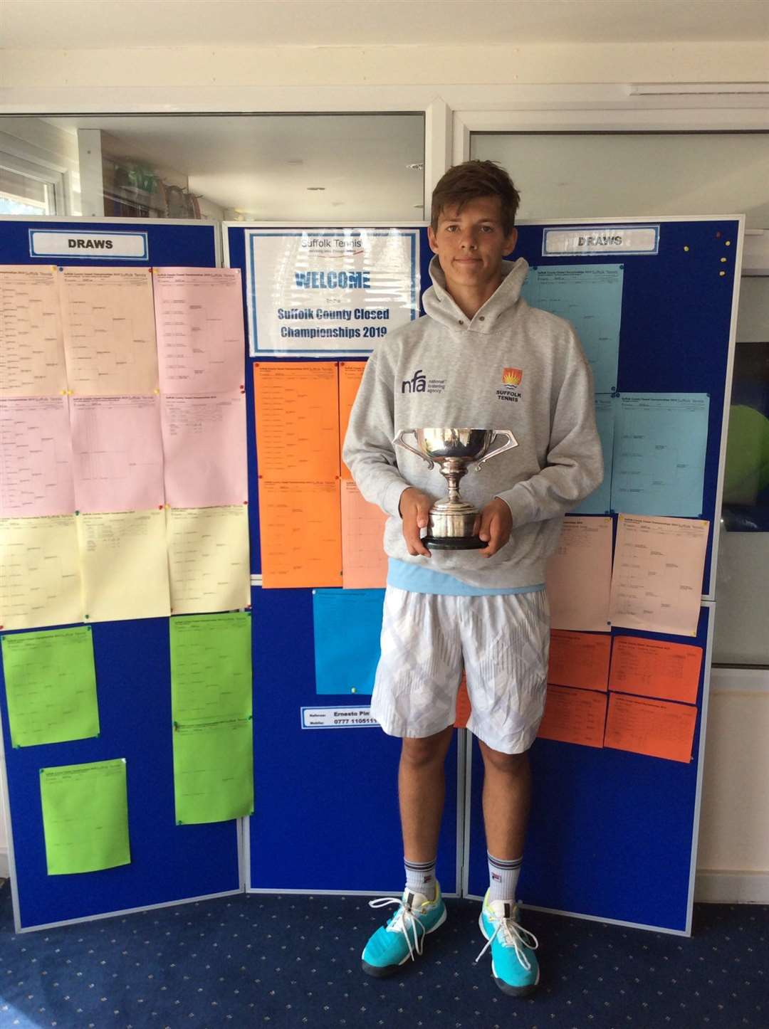 Asa Sumner-Keens won the Men's Singles and Doubles, U18 Singles and Doubles at the 2019 Suffolk LTA County Closed Championships. Picture: Suffolk LTA (16445108)