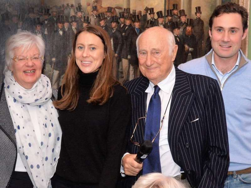 Bill Gredley, the man whose generosity makes the annual lunches possible, with his son Tim, daughter Pollyanna Scott and organiser Margaret Butcher