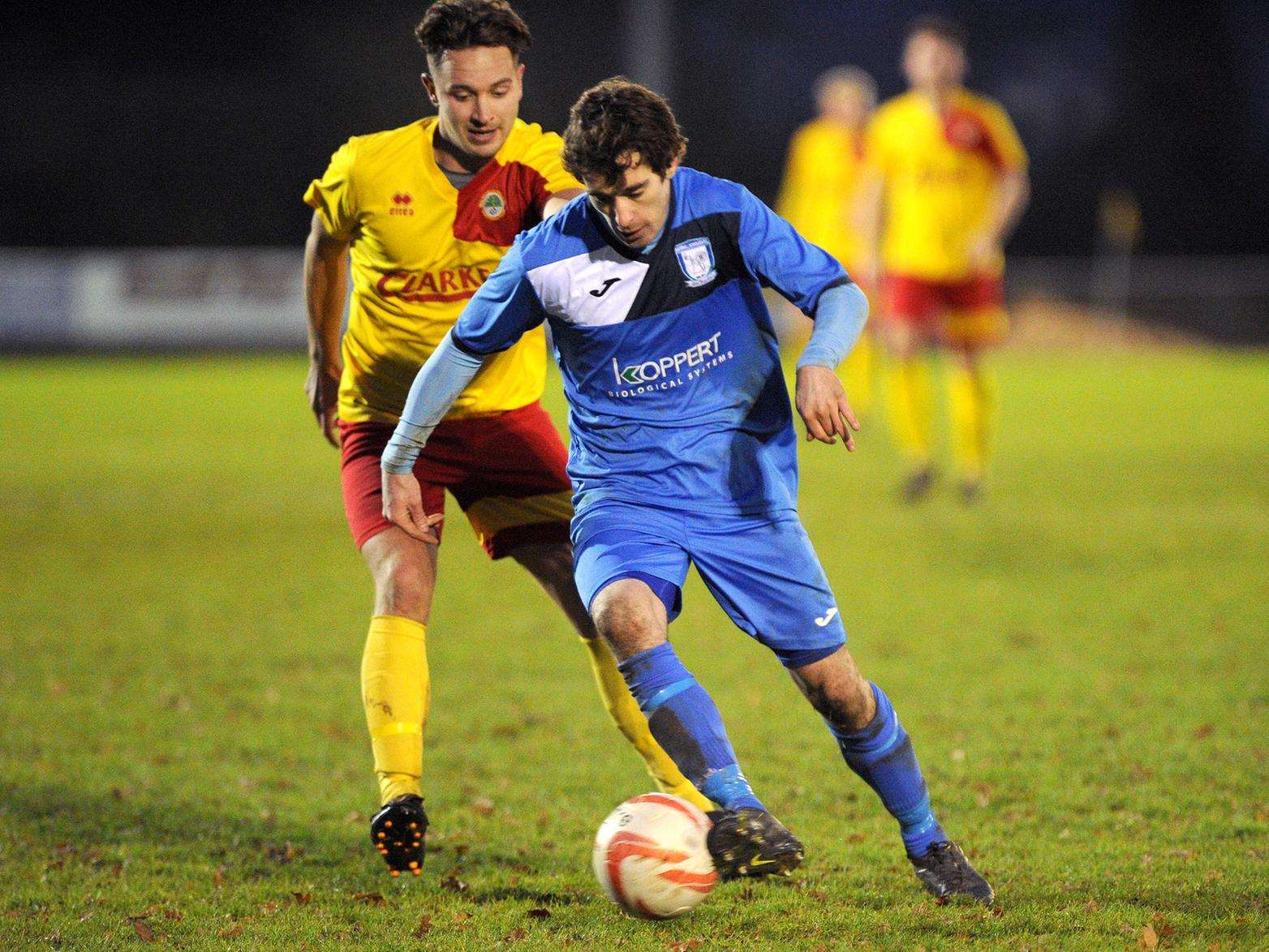 DEADLOCK BREAKER: Ryan Weaver opened the scoring for Haverhill Borough at Walsham. Picture: Mecha Morton