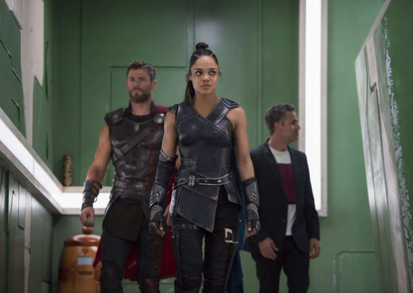 Undated film still handout from Thor: Ragnarok. Pictured: Chris Hemsworth as Thor, Tessa Thompson as Valkyrie and Mark Ruffalo as Bruce Banner. See PA Feature FILM Reviews. Picture credit should read: PA Photo/Marvel Studios/Walt Disney Studios/Jasin Boland. WARNING: This picture must only be used to accompany PA Feature FILM Reviews.