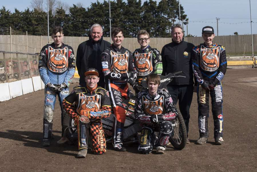 Mildenhall Fen Tigers Press and Practice day.'1 Dan Halsey 2 Alfie Bowtell 3 Connor Mountain 4 Connor Coles 5 Jon Armstrong 6 Rob Parker 7 Luke Ruddick'Picture Mark Westley ANL-160315-075824009