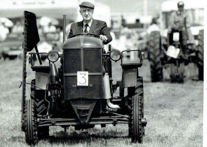 Eric Barker on one of his historic tractors