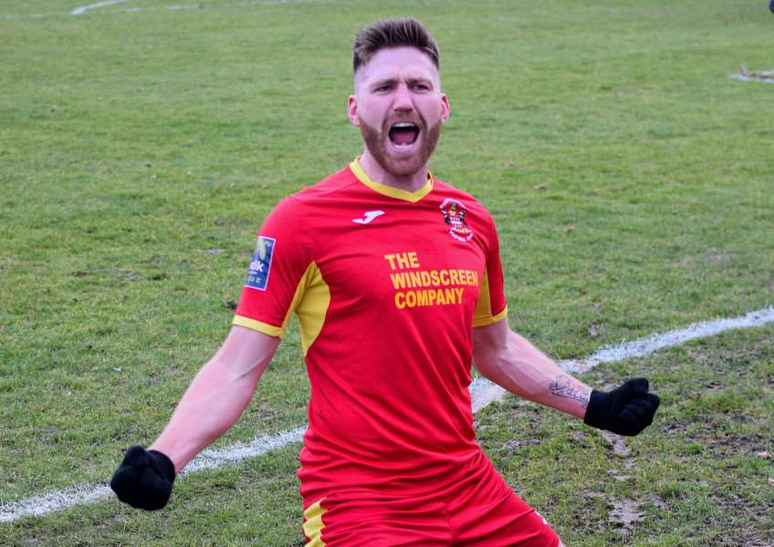 CELEBRATIONS: John Sands celebrates after scoring Needham Market's second goal in their 4-2 home win over Tonbridge Angels (Picture: Ben Pooley)