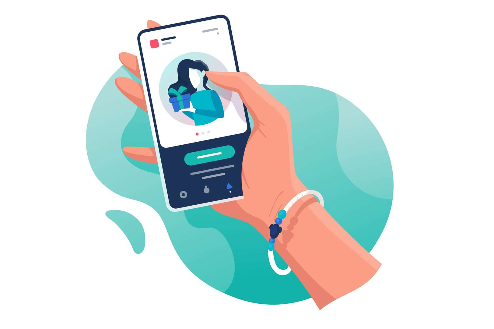 Flat isolated hand with phone with contacts woman with gift. Concept electronic mobile device, communication. Vector illustration. (Flat isolated hand with phone with contacts woman with gift. Concept electronic mobile device, communication. Vector il (43213791)