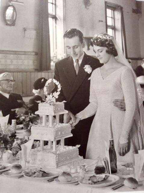 Roy and Ruth Lock on their wedding day 60 years ago (4084729)