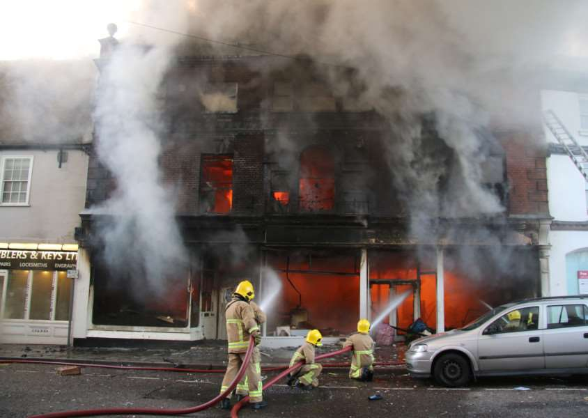 Firefighters tackle the blaze in Friars Street, Sudbury ANL-150709-164211001