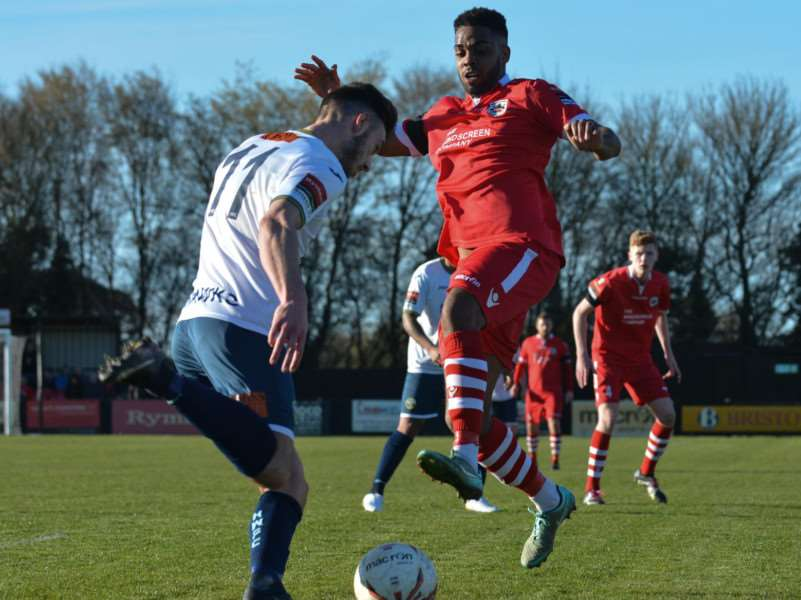 NEW SIGNING: Reece Dobson, pictured in action for former club Needham Market, has signed for AFC Sudbury from Harlow Town Picture: Ben Pooley