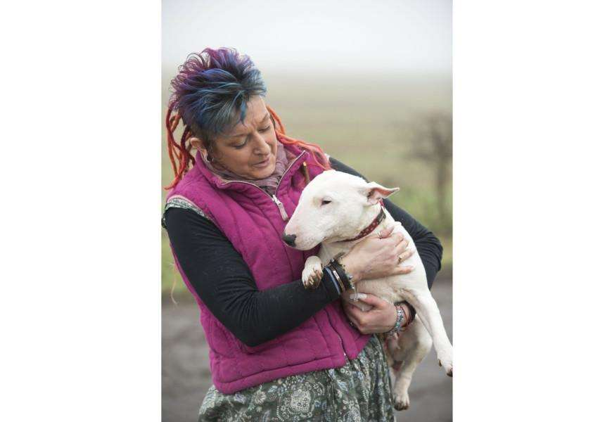 Liz Haslam, who runs Beds for Bullies in Barnham, with English bull terrier Milly