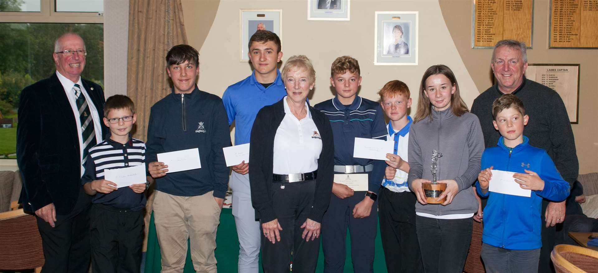 Sponsor Terry Hawkins (far left), Christine Ratcliffe (Ely City GC managementcommittee chairperson) and head PGA professional Andrew George (far right) are pictured with thewinners at this year's Ely City Golf Junior Open. (20389117)
