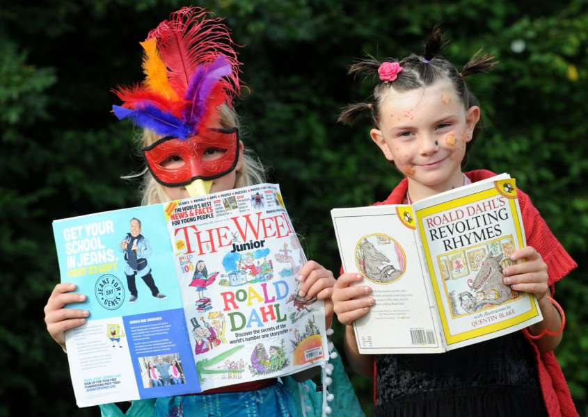 Celebrations for Roald Dahl's birthday - Hartest Primary School''Pictured: Lara Gooding and Dewi Brookes ANL-160913-154122009