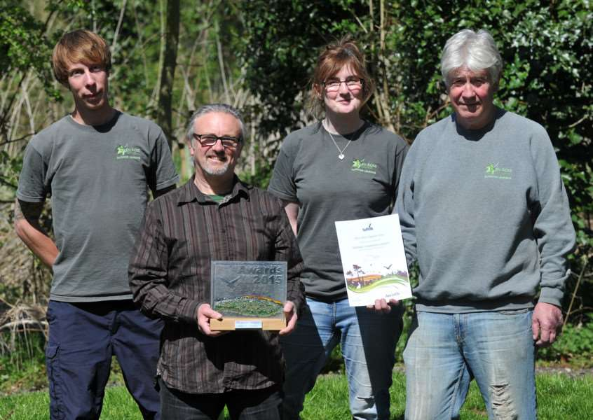 "The Eden-Rose Coppice Trust has won ""Greenest Community Project⬝ in the County of Suffolk.''Pictured: Sam Chamberlin, Alan Simmonds, Rob Brooks and Graham Moore"