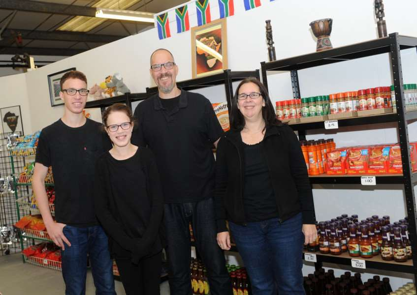 Grant Hughes is opening Saffa's Delight, a specilaist South African shop selling various products and food.''Pictured: Grant Hughes with wife Nadine and children Caitlin and Keagan'''PICTURE: Mecha Morton