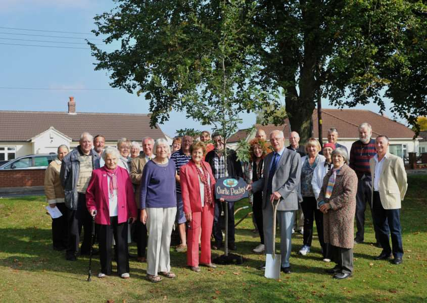 Village planted an oak tree as a thank you to Charlie Peachey