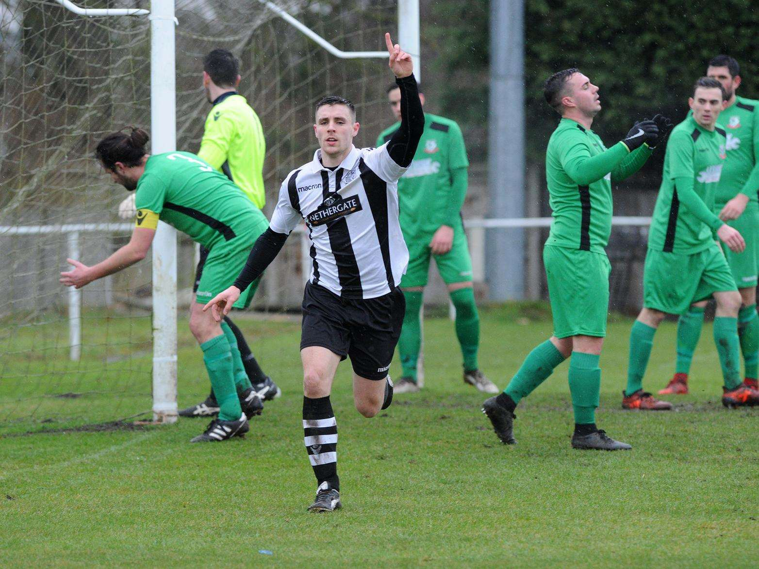 FEELING GOOD: Long Melford's Anthony Waugh celebrates his goal in his side's 2-2 draw with Gorleston at Stoneylands Picture: Mecha Morton