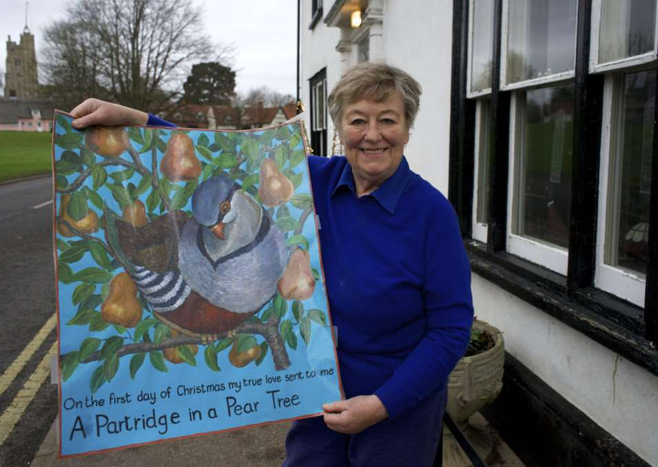 CAVENDISH: Local Artist Judy Kemp who has done 12 paintings of the 12 days of Christmas which are being unveiled in windows around the village, like a giant advent calendar, in the run up to Christmas. ANL-141222-203121009