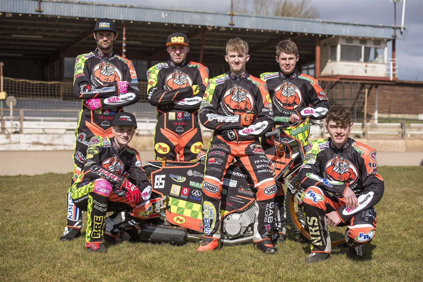 Mildenhall Fen Tigers Pre season practice day...Mildenhall Fen Tigers 2018 - Back row Left to right: Danny Ayres, Ryan Kingsley, Jordan Jenkins,Josh Bailey Front row left to right: Drew Kemp, Sam Bebee, ..Picture Mark Westley. (2973925)
