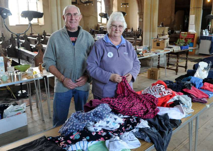 Feltwell yard sale day''Pictured; Mike Murfitt and Jackie Reeves (Committee Members) ANL-160307-181544009