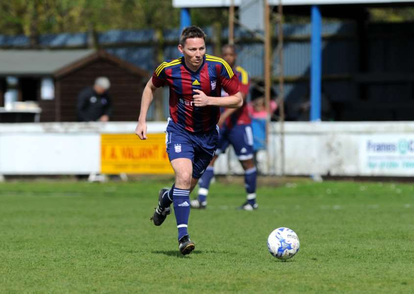 COMING TO BURY: Matt Holland, pictured playing in last year's ITFC Legends match, will be one of two Ipswich Town Legends at a charity evening at Bury Town next month