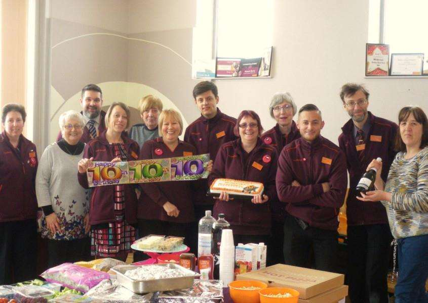 Past and present staff at Mildenhall Sainsburys celebrate its 10th anniversary