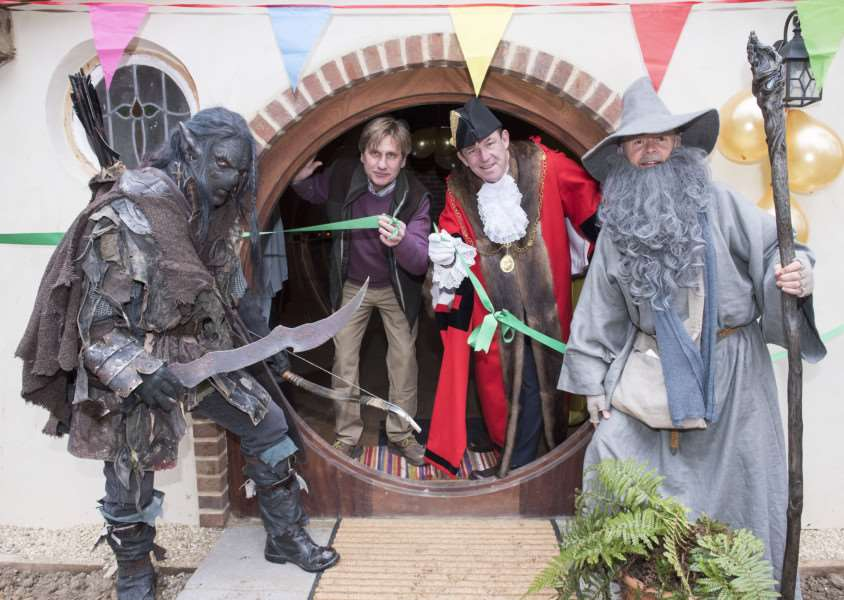 An Orc and Gandalf flank Jan Lengyel and St Edmundsbury mayor Terry Clements at Pod Hollow.'Picture Mark Westley