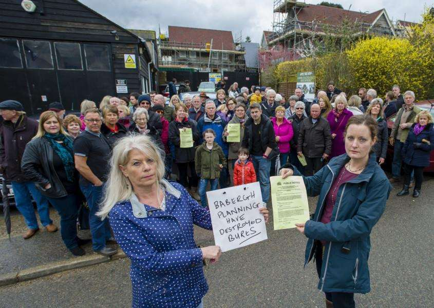 Bures, Suffolk. Residents protesting about a housing development on Cuckoo Hill where they live which are subject to a further planning application. Pictured are Carol Walters and Clare Frewin. ''Picture: Mark Bullimore Photography