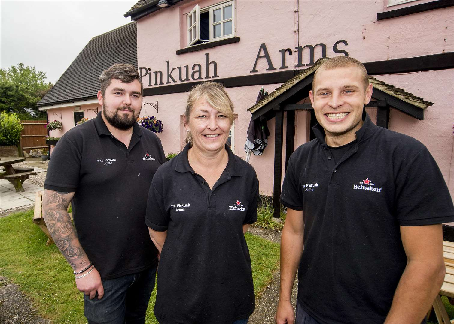 Pinkuah Arms pub, Pinkuah Lane, SudburyPinkuah Arms pub has reopened in Pentlow after being shut for months.Rebecca Gowing is the new landlord who has taken it over after moving from Kent.Rebecca Gowing with chefs Thomas Reeve and Anthony Johns outside the pub. Picture Mark Westley (2281828)