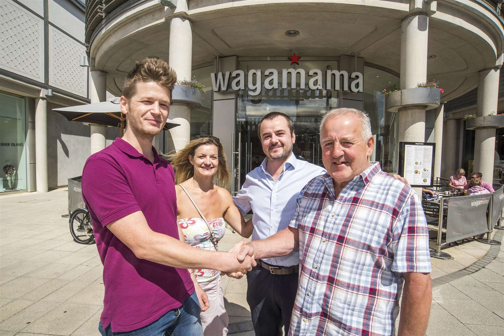 Cardiac arrest patient saying thank you to Wagamama staff.Wagamama, The Arc Suffolk, Bury St Edmunds.Trevor Boughton wants to say thank you, after first-aid trained Wagamama staff saved his life. Trevor Boughton (cardiac arrest survivor).Sarah Woodvine (daughter).Paul Boughton (son).Daniel Challenor (Wagamama) Picture Mark Westley. (3507040)