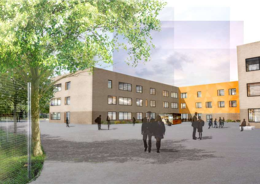 An artists view of how Mildenhall College Academy will look from its playground'Picture by Concertus