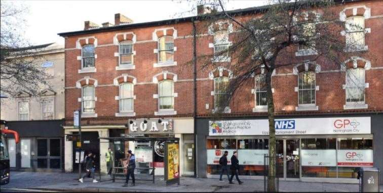 The health centre and neighbouring hairdressers on Upper Parliament Street, Nottingham.	Picture Mid Suffolk District Council