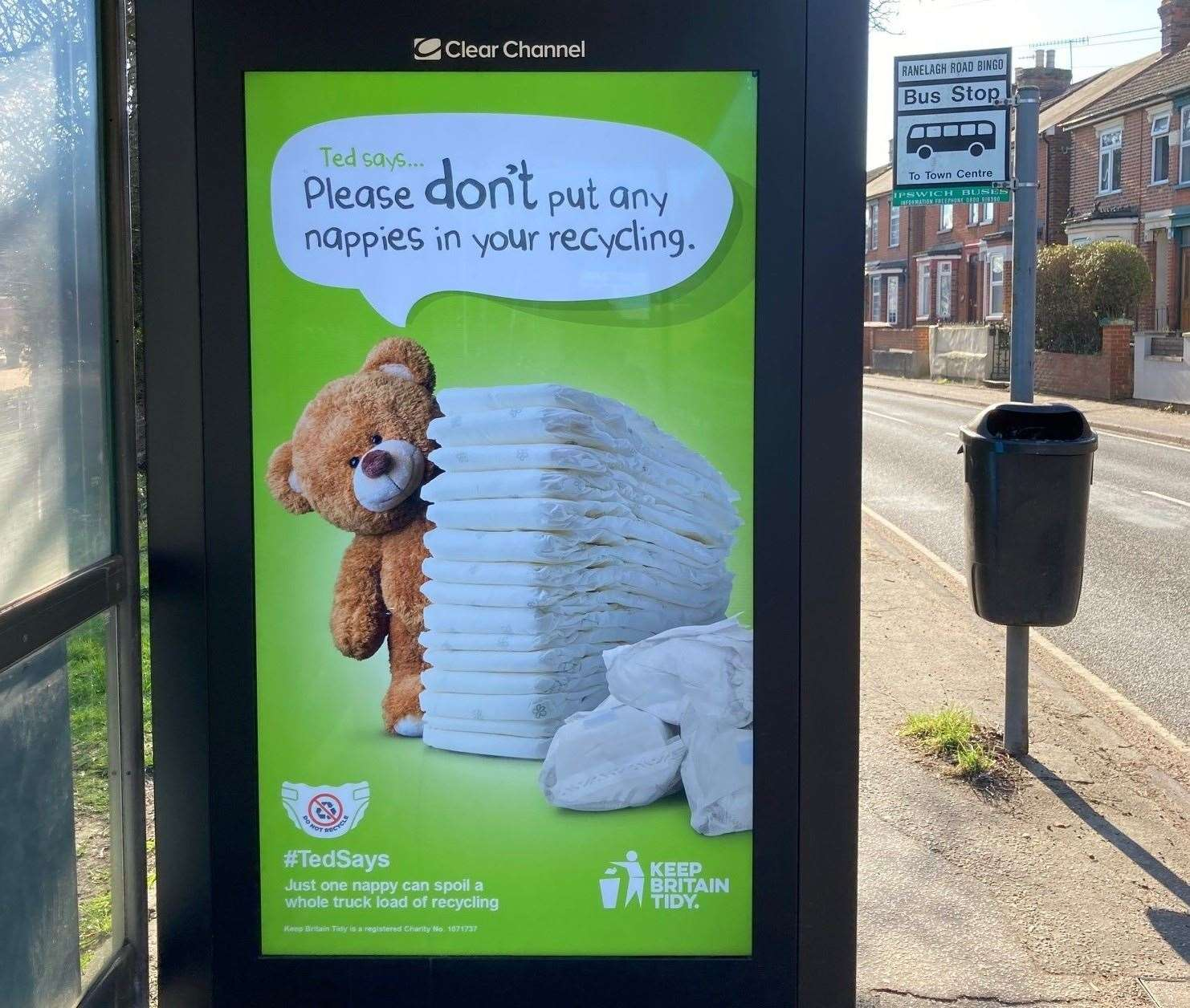 A Suffolk Waste Partnership campaign urging people not to put nappies in recycling bins. Picture: Suffolk Waste Partnership
