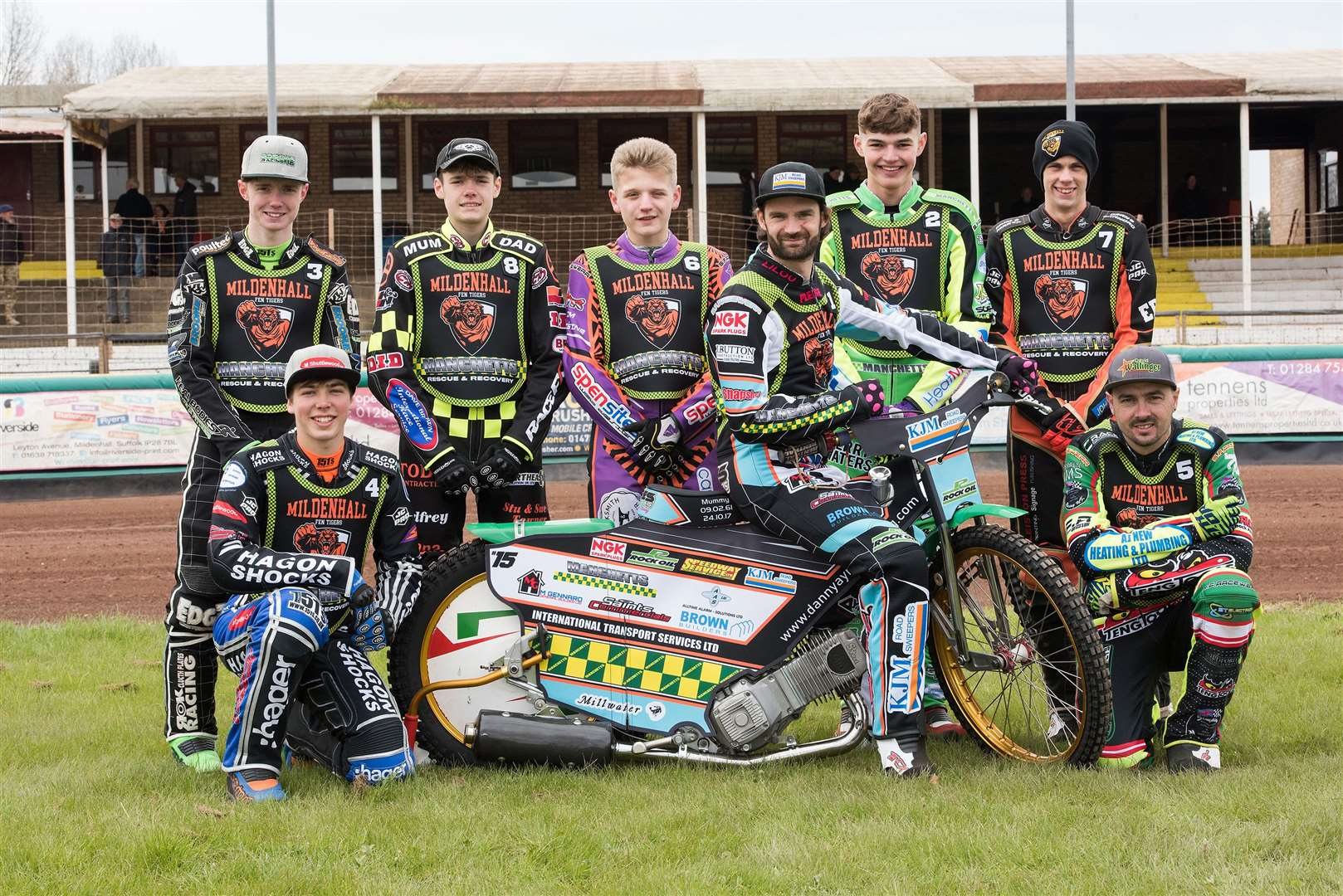 Mildenhall Fen Tigers Press and Practice DayFen Tigers team 2019 Danny Ayres, Sam Bebee, Charlie Brooks, Jason Edwards, Dave Wallinger, Elliot Kelly, Macauley Leek and Sam Norris Picture by Mark Westley. (14242400)