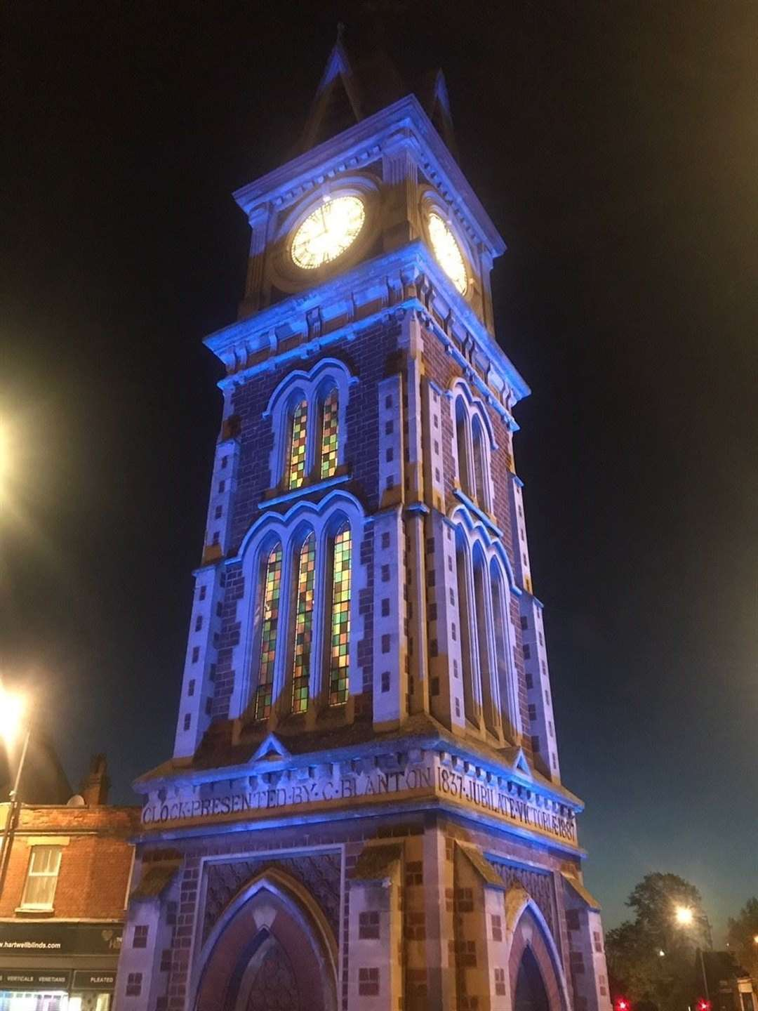 Newmarket's historic clock tower, which had a new lighting system installed last year, has been lit in blue as a tribute to the work being done by NHS and care staff during the current coronavirus crisis.