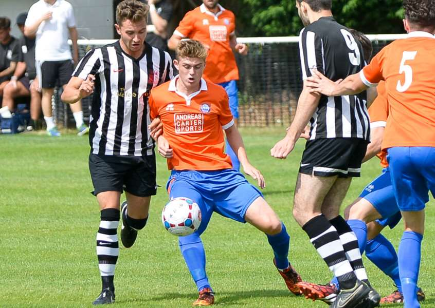 IMPRESSIVE DEBUT: New signing Reece Clarke (left) caught the eye during Long Melford's first pre-season friendly on Saturday