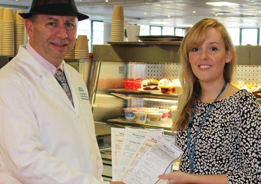 Catering manager Brodrick Pooley and dietitian Laura Riley with the new menus