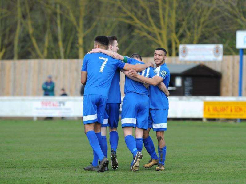 HAPPY SQUAD: Bury Town beat Ware on the road on Saturday, courtesy of a second half penalty. Picture: Mecha Morton