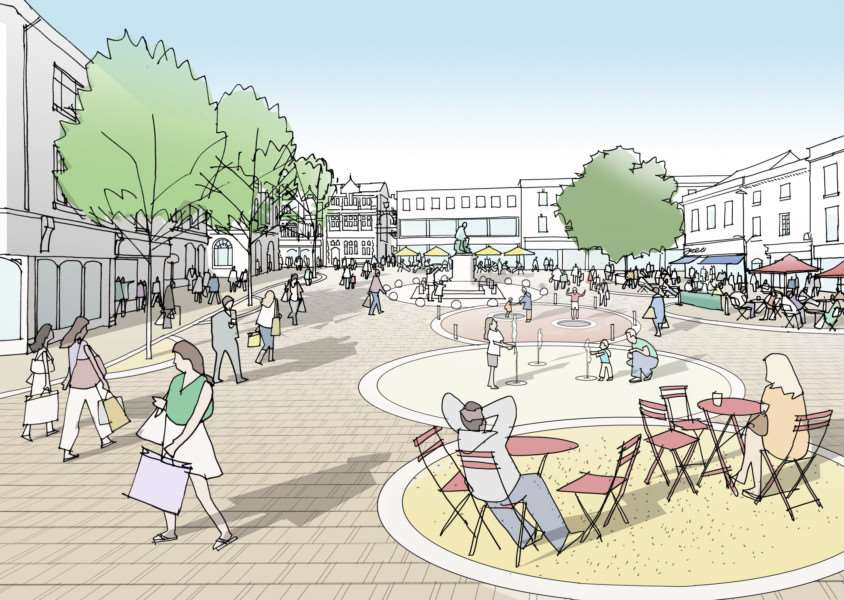 The Bury St Edmunds town centre masterplan's vision of Cornhill and Buttermarket