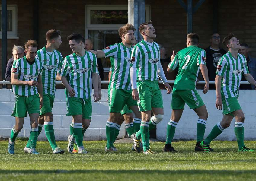 BACK-TO-BACK WINS: Soham celebrate Sam Mulready's goal against Brentwood