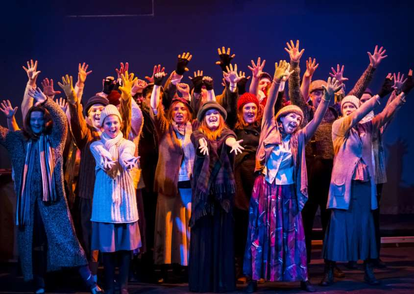 The chorus in Annie perform Hooverville ANL-150623-164216001
