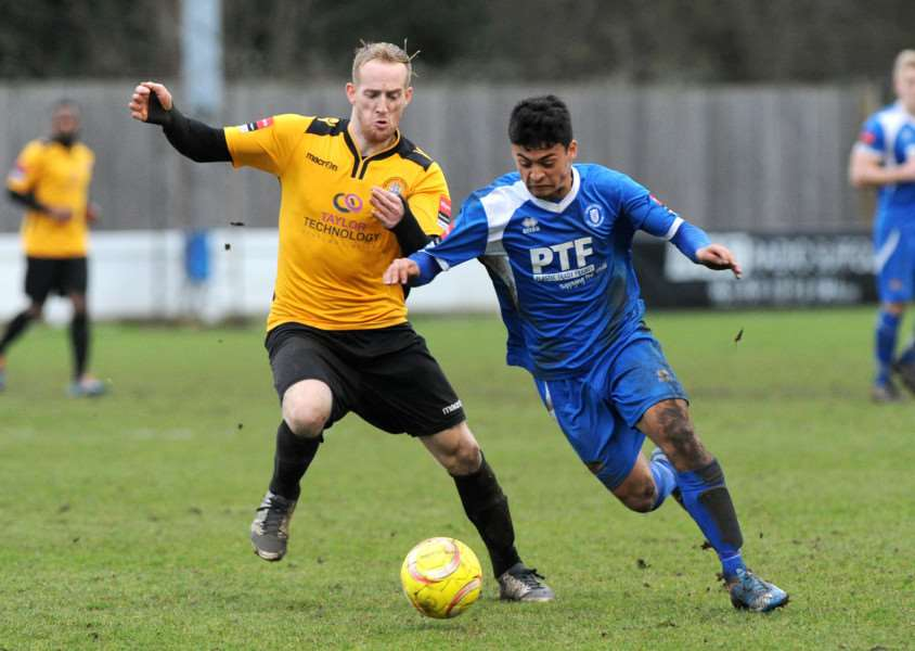 Dan Hammett in action during Bury's 1-1 draw with Cray Wanderers Picture: mecha Morton