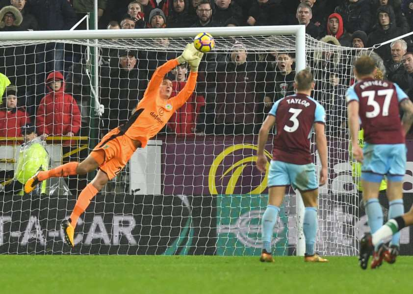 FLYING STOP: Pope shows good reflexes to deny Liverpool. Picture: Burnley FC/Andy Ford