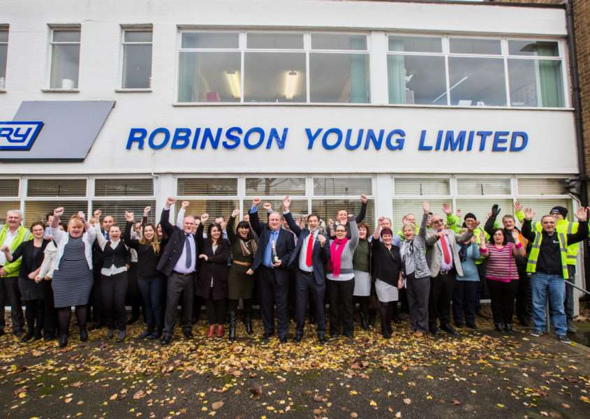 Staff celebrate a top award win for Robinson Young.