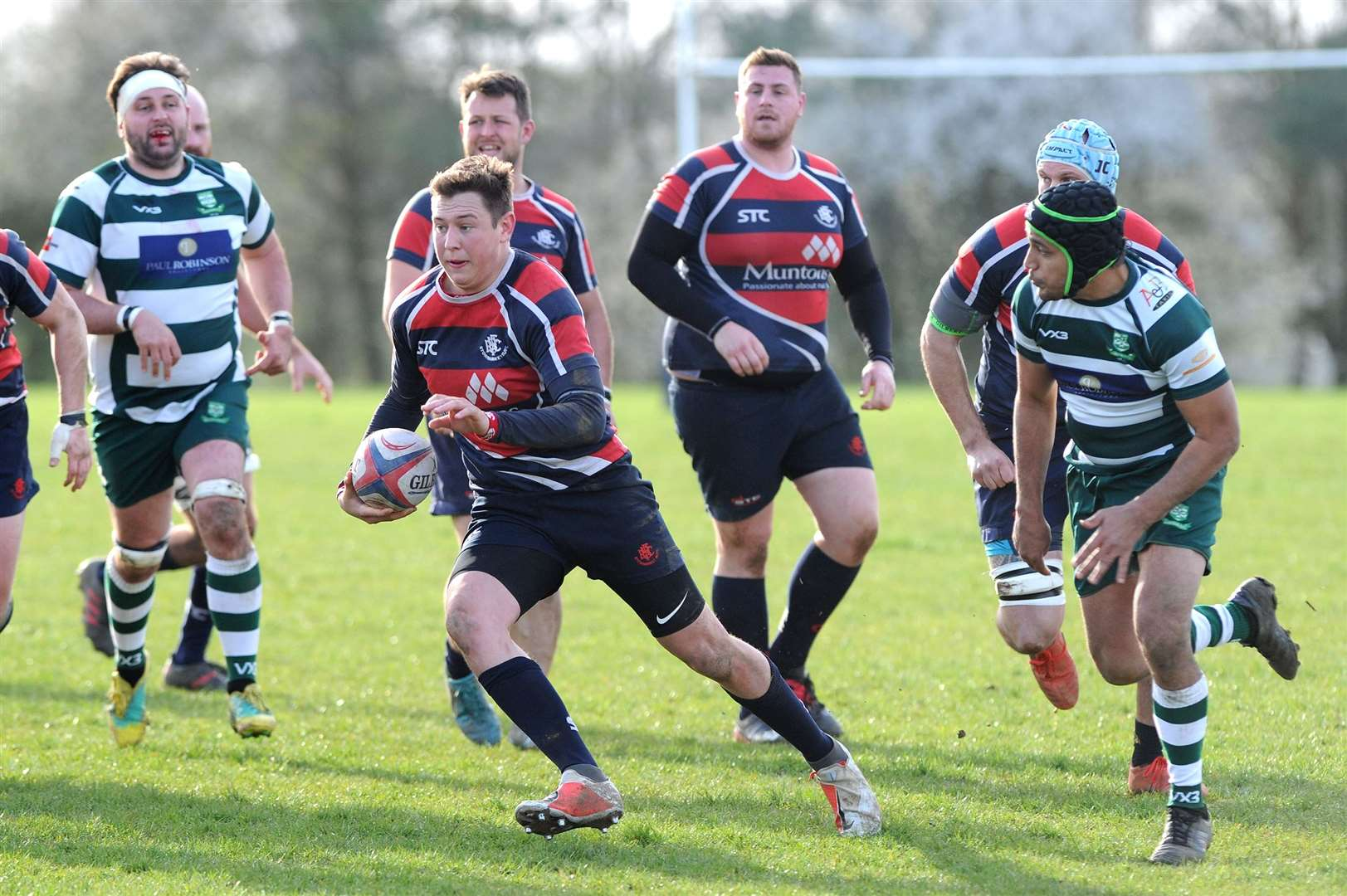 Brad Durrant scored the try of the game for Stowmarket in Saturday's win over Basildon	Picture: Mecha Morton
