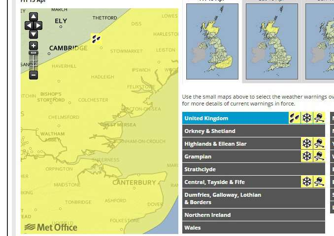 Another yellow weather warning for rain has been issued by the Met Office today