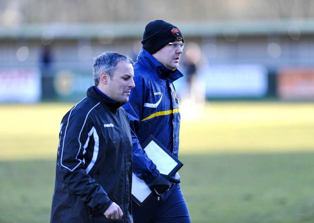 FRUSTRATED: AFC Sudbury manager Jamie Godbold, pictured with his assistant Andy Reynolds, hopes his players will learn from their mistakes after their county cup semi-final defeat against lower-league Whitton United