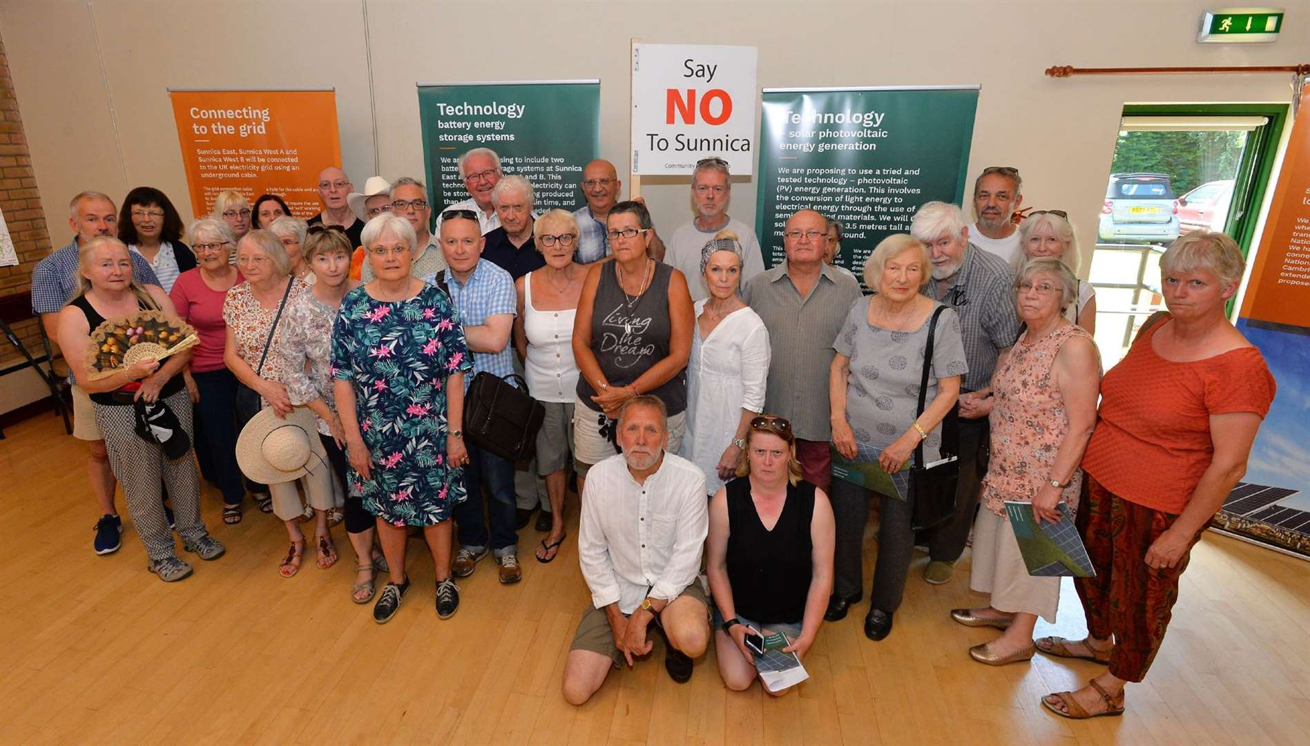 Freckenham villagers protest at the Sunnica Public Consultation with Cllr Brian Harvey and Cllr Louis Busuttil