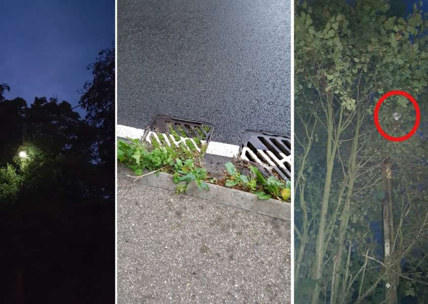Some of Great Whelneatham's highways problems, lights hidden by trees, blocked drains and faulty lights ANL-161020-165318001