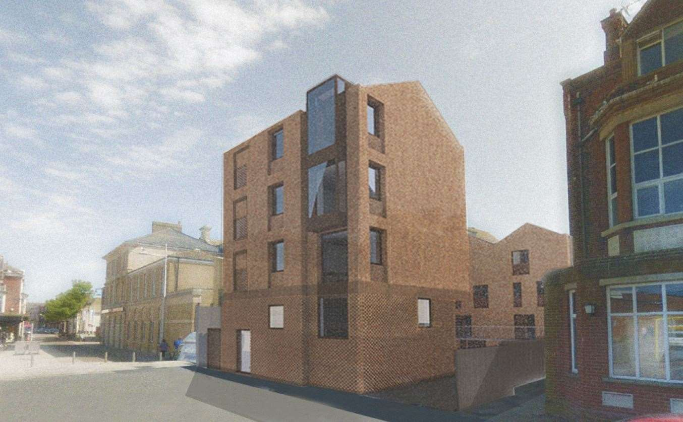 A CGI image of what the new block of flats could look like at the Lowestoft Post Office site. Picture: Hudson Architects/East Suffolk Council