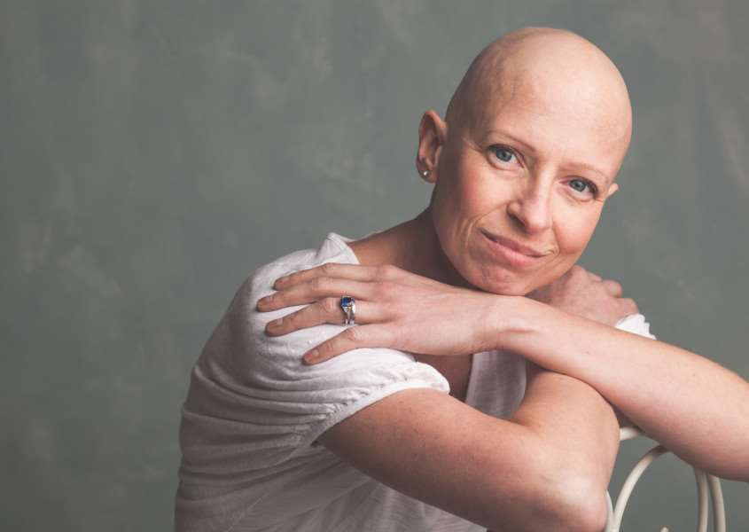 Liz O'Riordan pictured in November just before her last chemotherapy session - picture by Alex Kilbee, of Muse Portraits