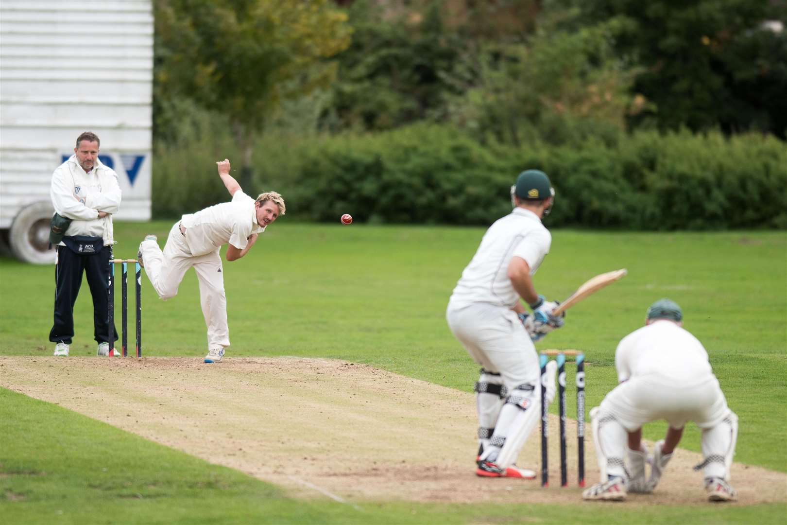 Cricket Mildenhall II v Lakenheath Shane Leech bowling for Lakenheath Picture Mark Westley. (4052047)